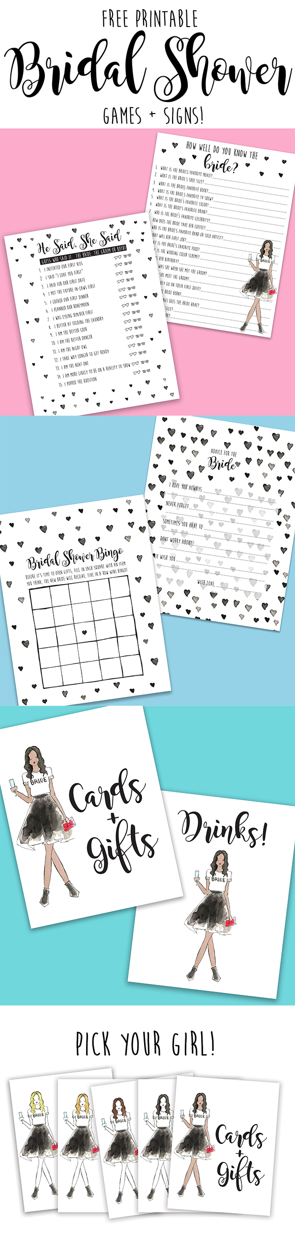 free printable bridal shower games signs